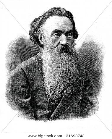 Nikolay Strakhov - Russian philosopher, essayist, literary critic. Engraving by  Shyubler. Published in magazine