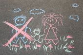 Childrens Drawing With Chalk On The Asphalt, Family With No Dad: Crossed Out Dad, Mom And Baby. Fam poster