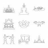 Vector Illustration Of Landmark And Culture Icon. Collection Of Landmark And Tourism Stock Symbol Fo poster