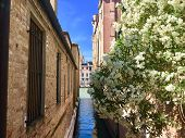 A Beautiful View Of A Very Narrow Canal Leading To The Grand Canal.  The Buildings Are Old And Have  poster