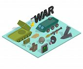 War Way Concept Banner. Isometric Banner Of War Way Vector Concept For Web, Giftcard And Postcard poster