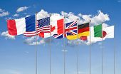Silk Waving G7 Flags Of Countries Of Group Of Seven Canada, Germany, Italy, France, Japan, Usa State poster