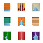 Windows Curtains Icon Set. Cartoon Set Of 9 Windows Curtains Vector Icons For Web Design Isolated On poster
