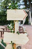 Empty Sign Pointers With A Space For Text. Wooden Pointers On A Wooden Pole. poster