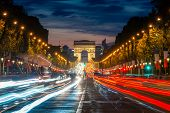 Night Scence Illuminations Traffic Street Of The Impressive Arc De Triomphe Paris Along The Famous T poster