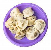 Dumplings On A Purple Plate Isolated On White Background .boiled Dumplings.meat Dumplings Top Side V poster
