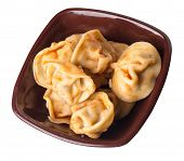 Dumplings On A Brown Plate Isolated On White Background. Dumplings In Tomato Sauce. Dumplings Top Si poster
