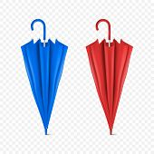 Vector 3d Realistic Render Blue And Red Blank Umbrella Icon Set Closeup Isolated On Transparent Back poster