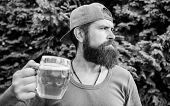 Drinking Culture. Hipster Holding Beer Mug. Bearded Hipster Drinking Beer On Summer Nature. Hipster  poster