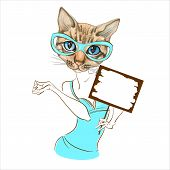 Stylish Fashion Kitty With Glasses. Fashionable Style. With A Sign For The Text. Vector. Watercolor poster