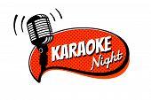 Karaoke Night Party Script On Comic Strip Speech Bubble Emblem. Stage Retro Vintage Microphone Vecto poster