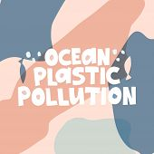 Ocean Protection Flat Vector Banner Template. Sea Waters Pollution, Anti Plastic Campaign Message Ty poster