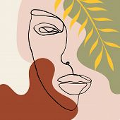 Continuous Line, Drawing Of Woman Face, Fashion Concept, Woman Beauty Minimalist With Geometric Dood poster