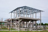 Home Under Construction Using Steel Frames Against. New Residential Construction Home Metal Framing poster