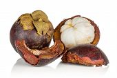 Group Of One Whole One Half Two Pieces Of Deep Purple Mangosteen Isolated On White Background poster