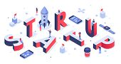 Isometric Startup Lettering. Company Launch, Startups Business Banner And Abstract Creative. Creativ poster