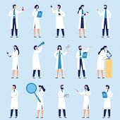 Scientists People. Science Lab Worker, Chemical Researchers And Scientist Professor Character. Labor poster