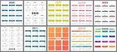 Calendar 2020. Wall Planner Calendars, Week Starts Grid And Year Dates Template. Date Diary, Busines poster