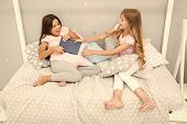 Sisters Relations Issues. Share Book With Friend. Children In Bedroom Want Read Evening Fairy Tale.  poster