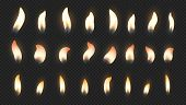 Candle Flame. Realistic Fire Light Effects For Birthday Cake Burning Candle. Vector Candlelight Set  poster