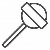 Lollipop On Stick Line Icon. Sweet Food Vector Illustration Isolated On White. Candy Stick Outline S poster