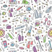 Make Up Doodle Pattern With Lipstick, Cream, Mascara, Powder, Shades, Brush. Make Up And Cosmetics S poster