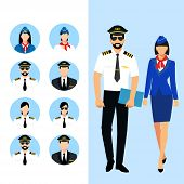 Illustration Of Stewardess Dressed In Blue Uniform. Flight Attendant And A Pilot Isolated. Vector Il poster