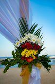 Flower Decoration. Wedding Decoration At The Beach. Flower Bouquet. Romantic Dinner Decoration. Wedd poster