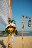 Flower Decoration. Wedding Decoration At The Beach. Flower Bouquet. Vintage Lamp From Bamboo. Romant poster