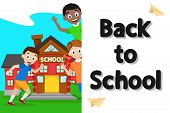 Schoolchildren Playing At School, White Background With Place For Text. poster