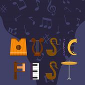 Acoustic Music Festival Vector Illustration. Live Rock, Jazz Or Pop Music Concert. Musical Party Web poster