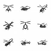 Airport Helicopter Icon Set. Simple Set Of 9 Airport Helicopter Vector Icons For Web Design Isolated poster