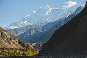 Nature Landscape View Of Snow Capped Rakaposhi Peak In Karakoram Mountain Range In Nagar Valley. Aut poster