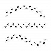 Set Of Vector Isolated Paws Or Dog Print. Animal Vector Paws Or Prints Dog Or Cat. Walk Print Curved poster