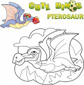 Cartoon Cute Prehistoric Dinosaur Pterosaur, Funny Illustration poster