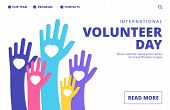 Volunteer Day Landing Page. Vector Volunteering Banner Template. Illustration Volunteer Day Support, poster
