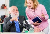 Biologist Or Chemist With Microscope Teaching Student Biology. Study Biology. Biological Research. C poster