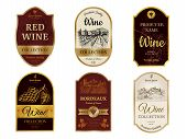 Wine Vintage Labels. Alcohol Wine Champagne Drinks Badges Luxury Style With Pictures Of Vineyard Sil poster