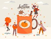 People Near The Big Coffee Mug With Marshmallow And Cinnamon.girl With Umbrella, Woman Jumping With  poster