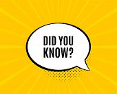 Did You Know. Chat Speech Bubble. Special Offer Question Sign. Interesting Facts Symbol. Yellow Vect poster