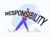 Young Man Carrying Heavy Responsibility Word. Flat Modern Concept Vector Illustration Of Burden Of R poster