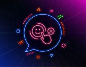 Customer Satisfaction Line Icon. Neon Laser Lights. Positive Feedback Sign. Smile Symbol. Glow Laser poster