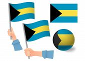 Bahamas Flag In Hand Set. Ball Flag. National Flag Of Bahamas Illustration poster