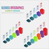 Set Of Infographics Business Template 3d Steps For Presentation, Sale Forecast, Web Design, Improvem poster