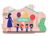 Vector 1st September School Composition, Background. Children Near School With Ticher, Little Pupils poster
