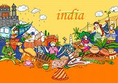 Vector Design Of Indian Collage Illustration Showing Culture, Tradition And Festival Of India poster