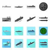 Isolated Object Of War And Ship Logo. Collection Of War And Fleet Stock Vector Illustration. poster