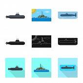 Vector Design Of War And Ship Logo. Set Of War And Fleet Stock Symbol For Web. poster