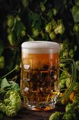 Glass Of Beer With Foamlight Beer. Beer Foam. Green Hops On The Background. poster