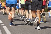 Marathon Runners On The Street. Healthy Lifestyle. Athlete Endurance poster